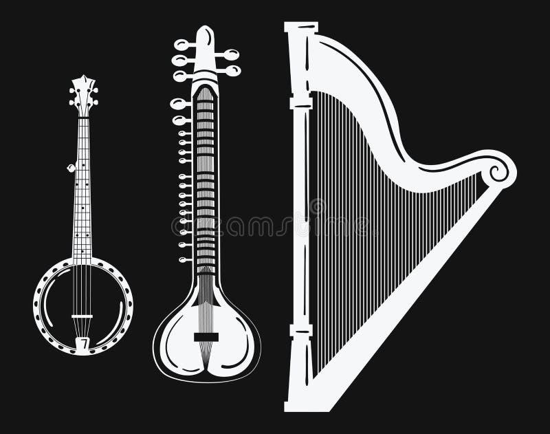 一套乐器 风格化竖琴 黑白班卓琵琶例证 锡塔尔琴 被串起的音乐会的汇集 向量例证