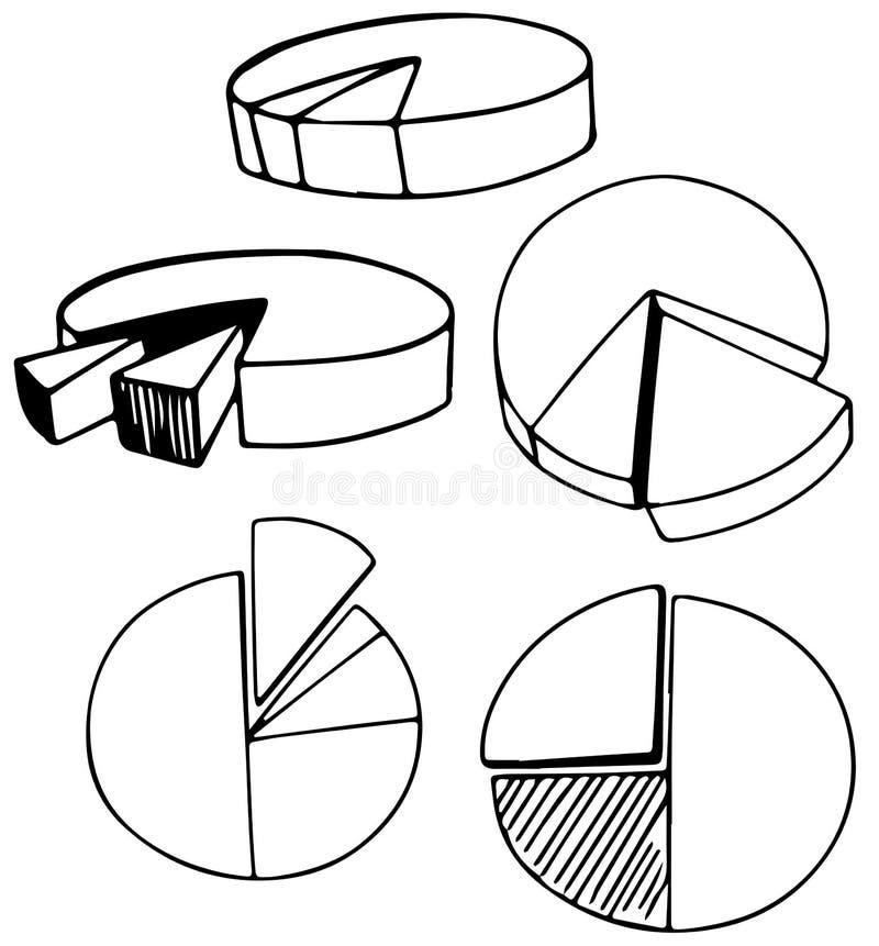一套乱画圆形统计图表 皇族释放例证