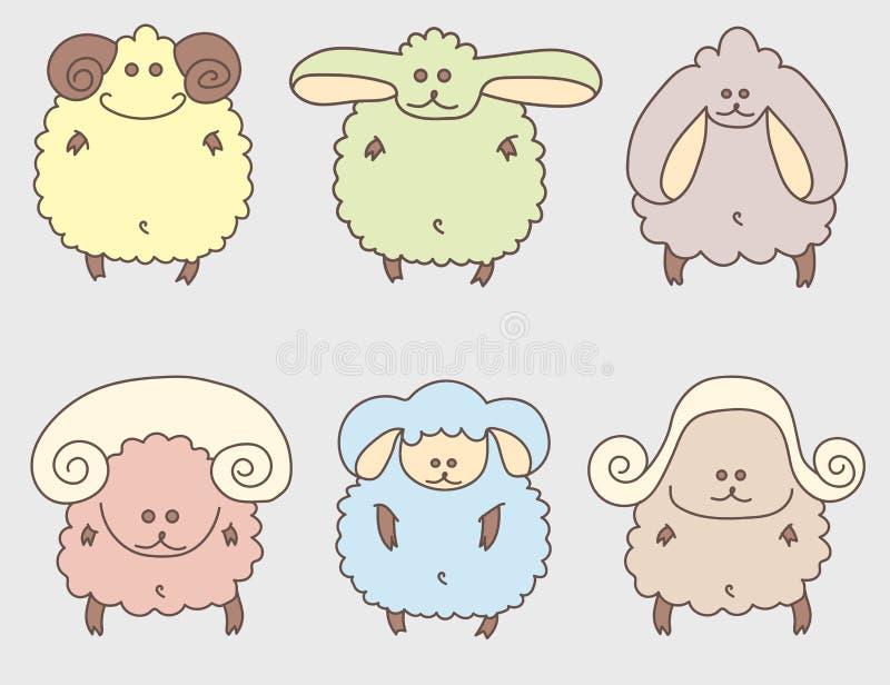 一套五颜六色的动画片逗人喜爱的绵羊 不同的垫铁 库存例证