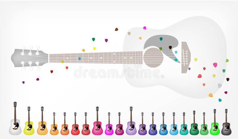 一套五颜六色的声学吉他背景 皇族释放例证