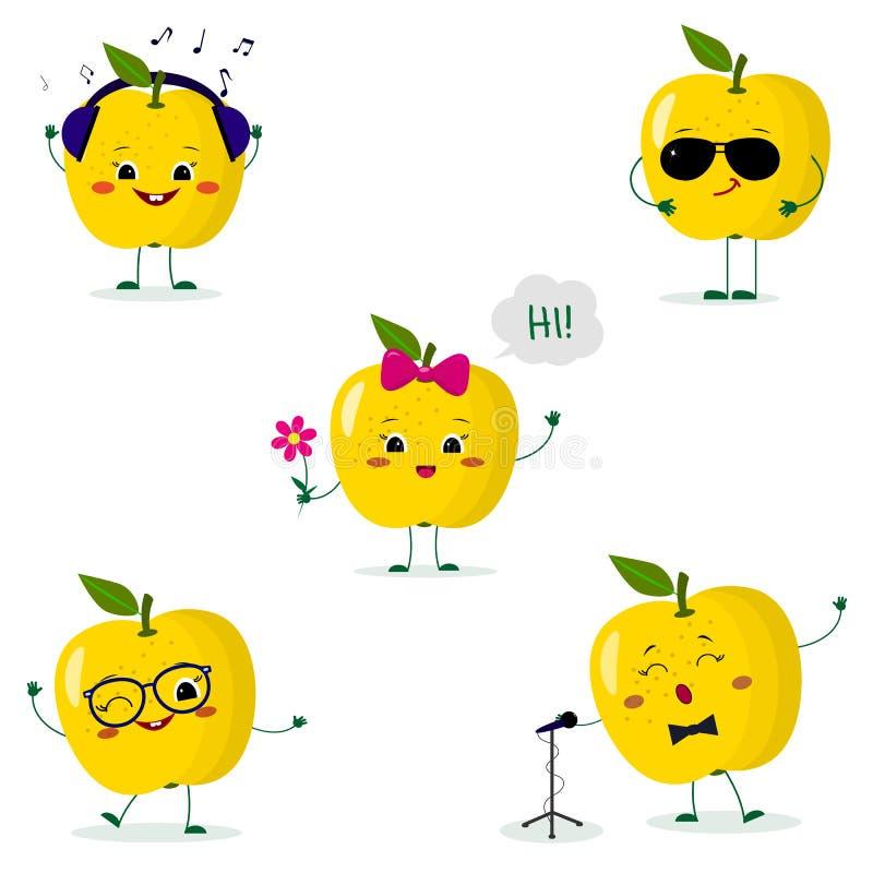 一套五黄色苹果面带笑容用在动画片样式的不同的姿势 库存例证