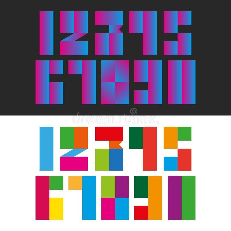 一套从长方形多颜色和梯度块几何形状,印刷术的数学标志的现代数字 库存例证