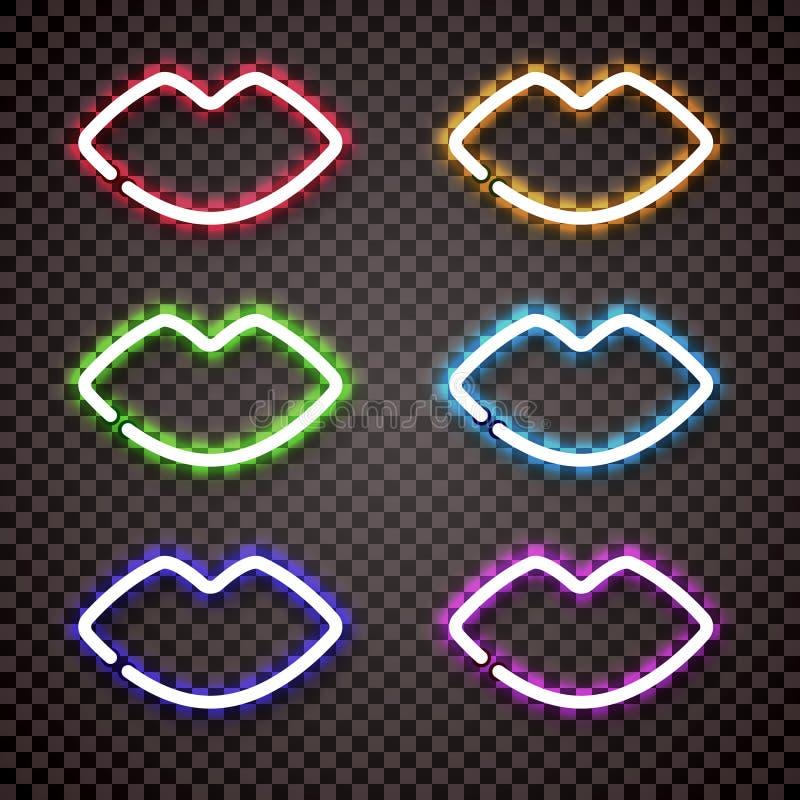 一套以妇女` s嘴唇的形式多色的霓虹灯 皇族释放例证