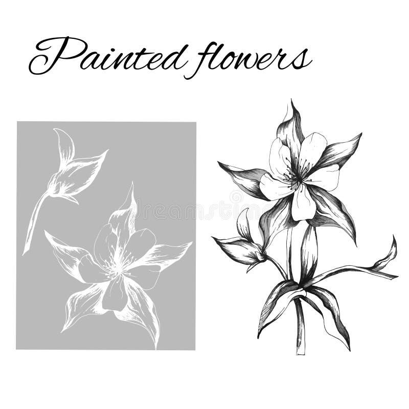 一套传染媒介花等高  墨水画的花的剪影 Clipart概述用于设计 向量例证