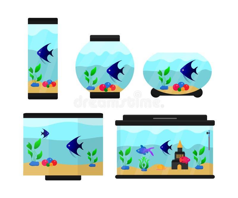 一套六个水族馆 向量例证