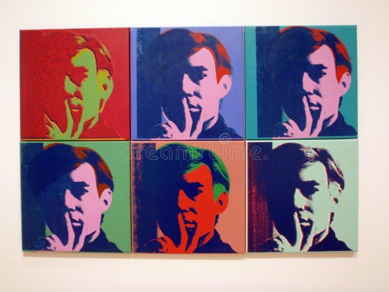 一套六张自画象,安迪Warhol 免版税库存照片