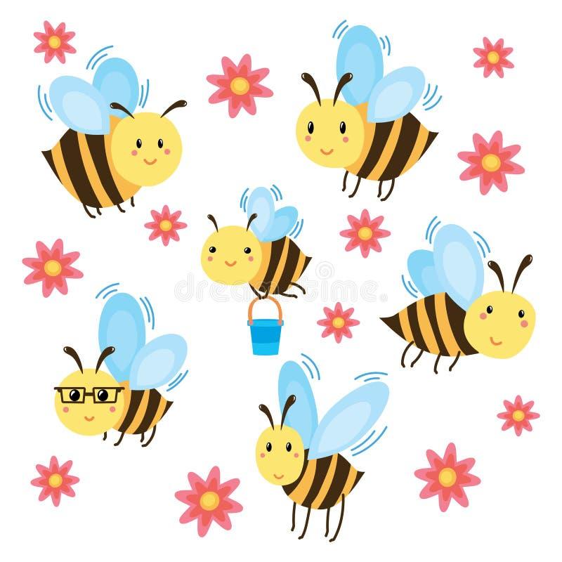 一套动画片蜂 飞行蜂的传染媒介例证与花的 画孩子的 滑稽的土蜂 艺术 向量例证