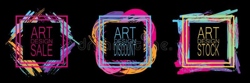 一套各种各样的广告的多彩多姿的框架 对于网站设计,存放 皇族释放例证