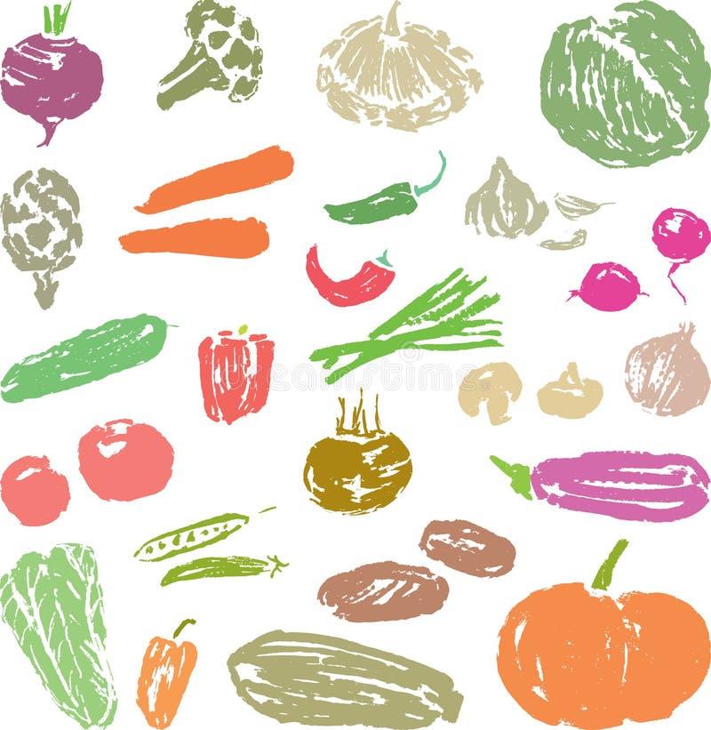 一套各种各样的成熟菜剪影  向量例证