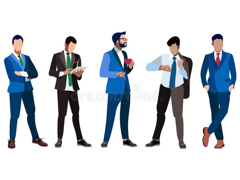 一套商人五人 背景查出的白色 在最低纲领派样式 动画片平的传染媒介 库存例证