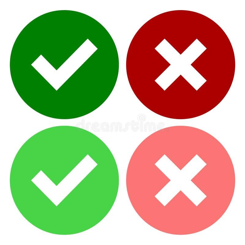 一套四个网按钮、绿色校验标志和红十字在两个变形 皇族释放例证