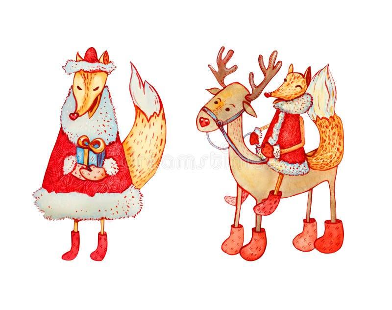 一套圣诞节字符:狐狸和鹿 库存照片