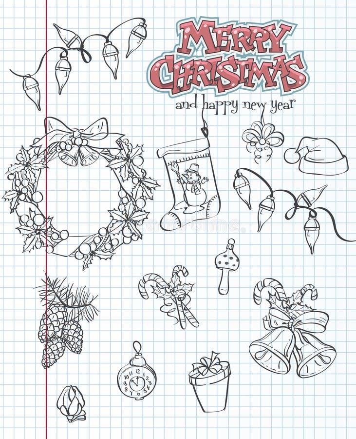 一套圣诞节项目 礼物,玩具,诗歌选 黑色等高 2件装饰品设置了 向量例证