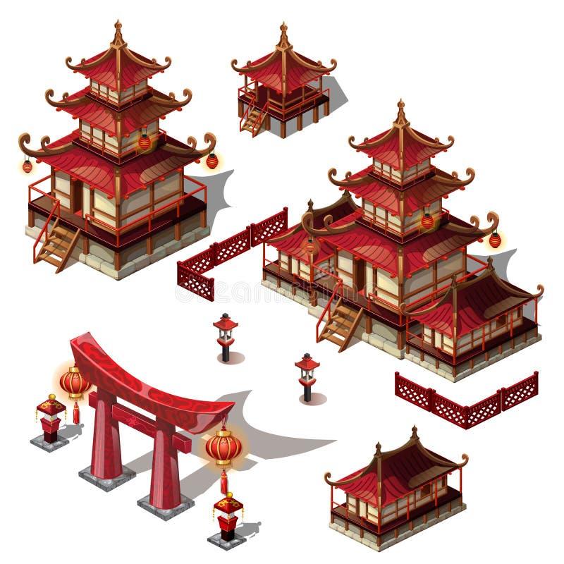 一套在东方样式的建筑元素 塔房子和门黑和红颜色 传染媒介动画片特写镜头 皇族释放例证
