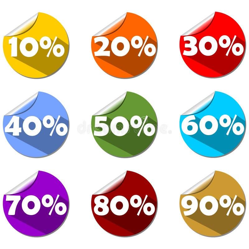 一套在卷轴式记录纸圈子的百分之标签用不同的颜色 用于商店、市场或者介绍 现代平的设计 向量例证