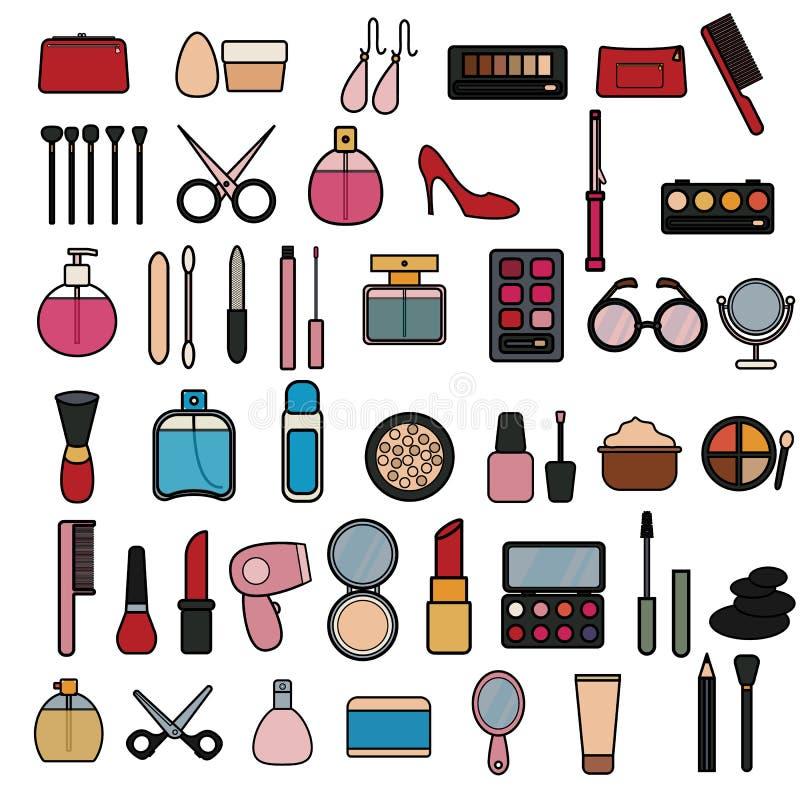 一套在平的样式时尚秀丽和女性化妆用品的许多时兴的迷人的项目象:粉末箱子,香水,奶油 库存例证