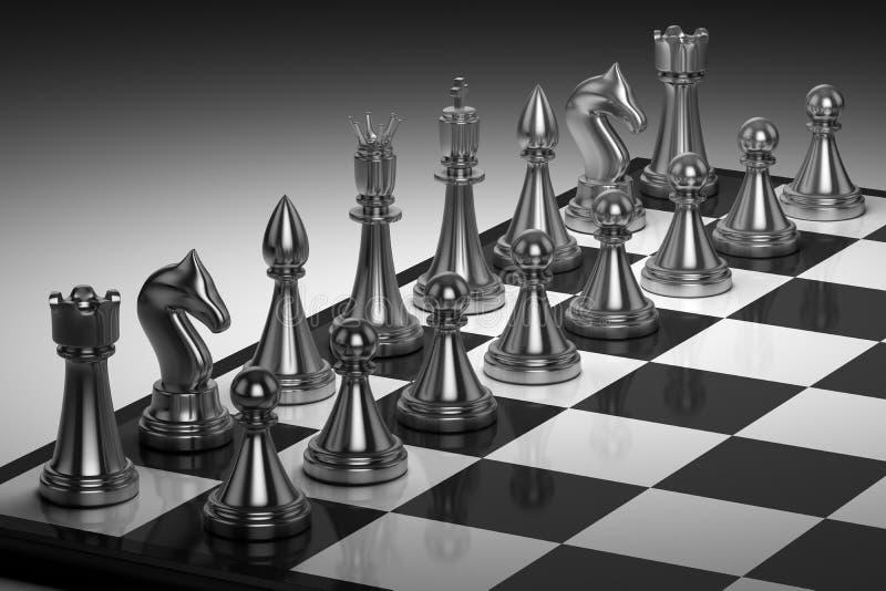 一套在棋盘的棋子。下棋比赛 向量例证