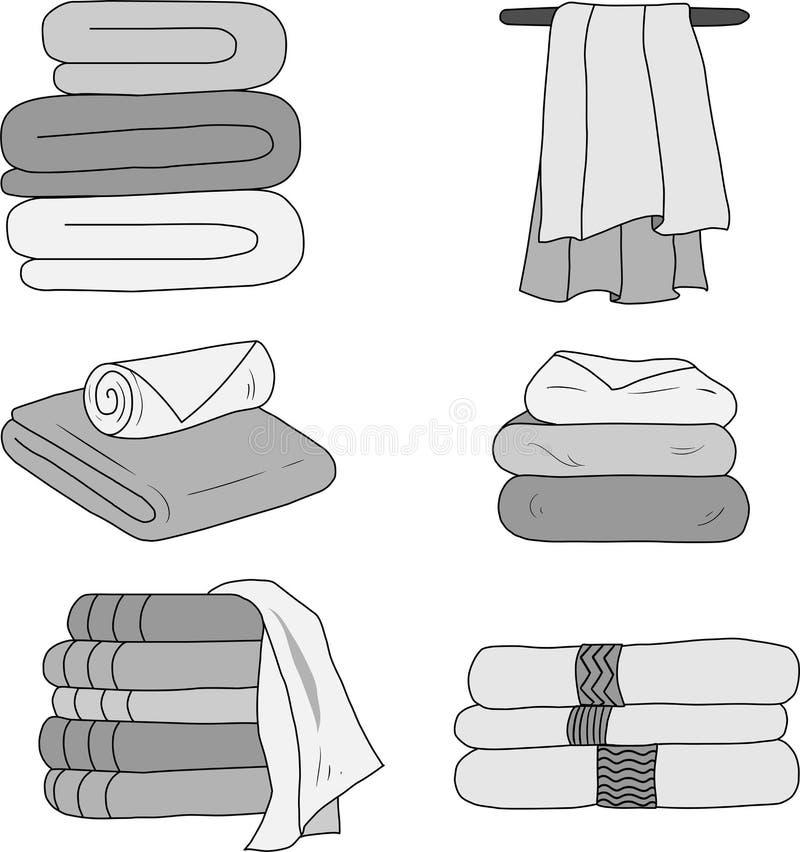 一套在灰色口气的传染媒介毛巾 库存例证