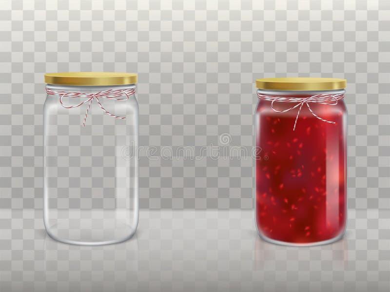 一套在玻璃圆的瓶子一个现实样式的传染媒介例证是空和与用a报道的山莓果酱 向量例证