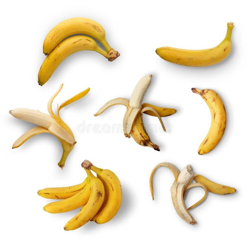 一套在白色背景的成熟香蕉 在视图之上 查出 库存照片
