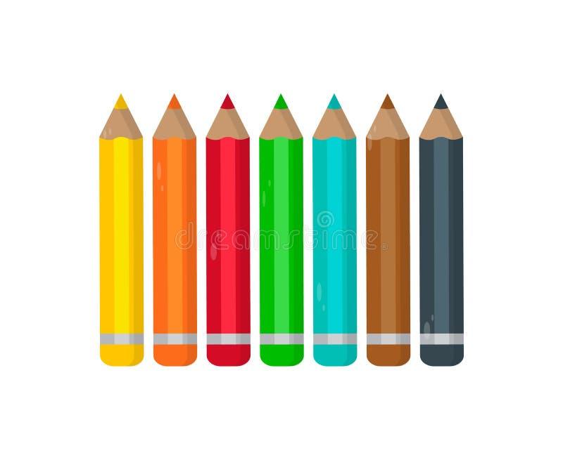一套在白色背景的色的铅笔 r 向量例证