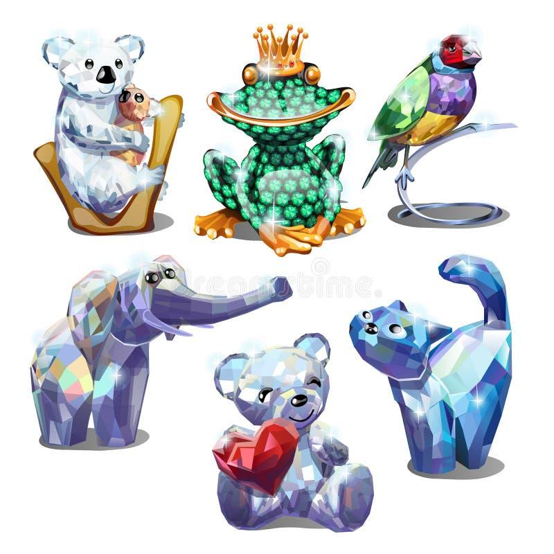 一套在白色背景隔绝的雕琢平面的宝石动物小雕象  传染媒介动画片特写镜头例证 皇族释放例证