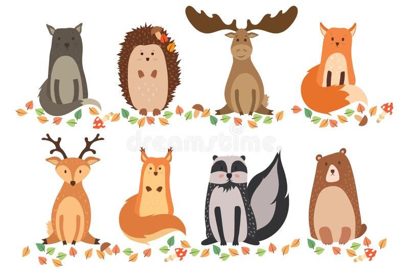 一套在被隔绝的白色背景的逗人喜爱的动物 在一个平的样式的传染媒介例证 野生猫,猬,麋,狐狸,鹿, squ 库存例证