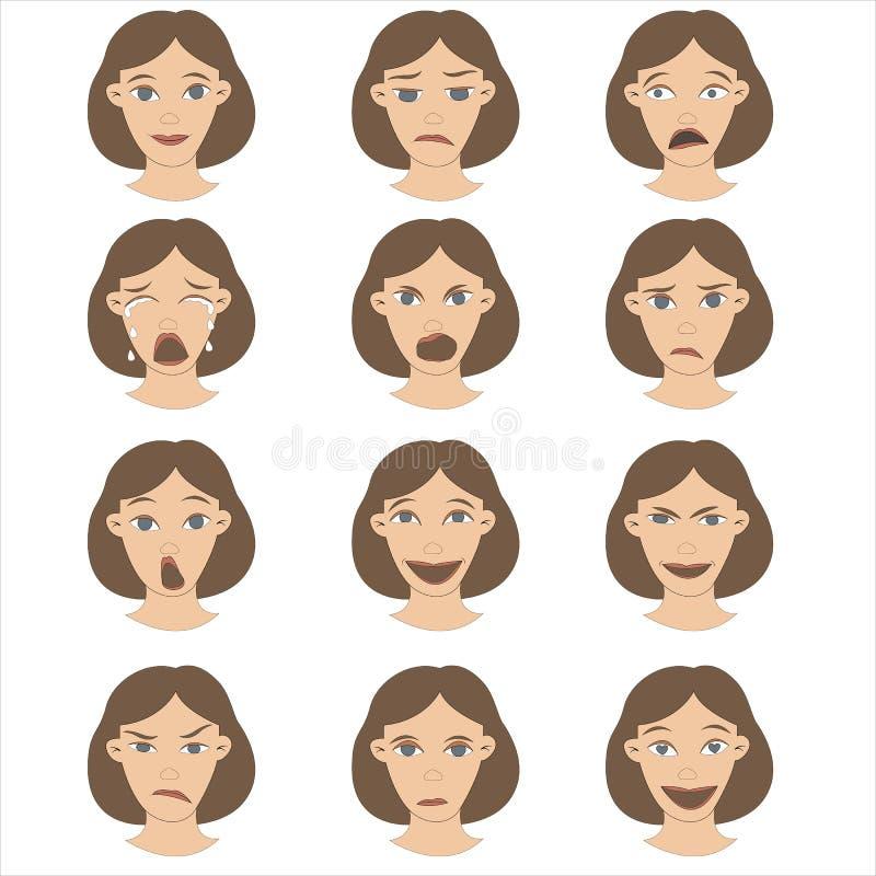 一套在面孔字符设计动画片棕色毛发的头发和各种各样的表示的女性情感 皇族释放例证