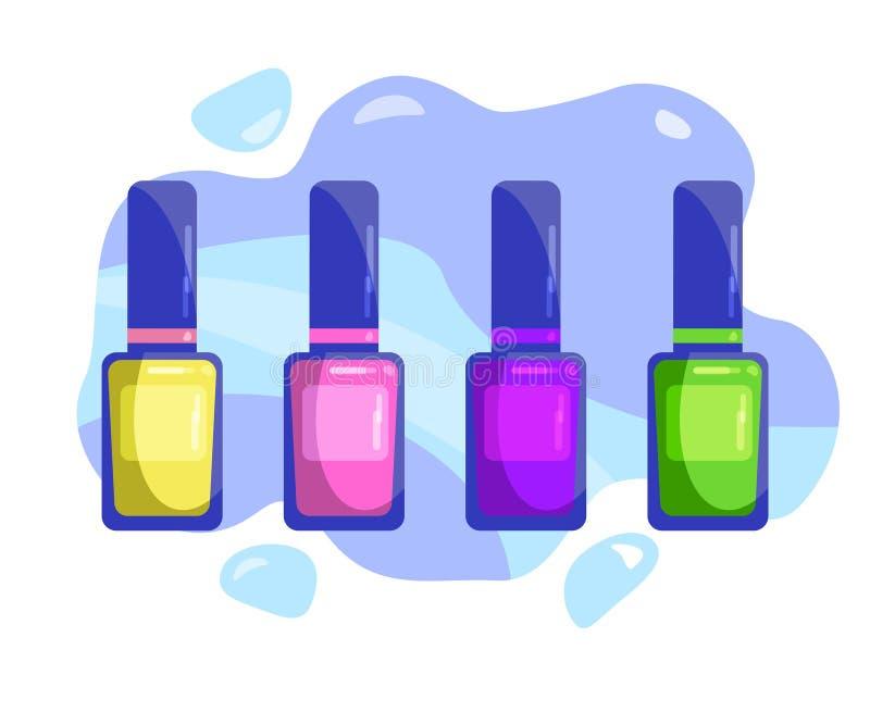 一套多彩多姿的指甲油 库存例证