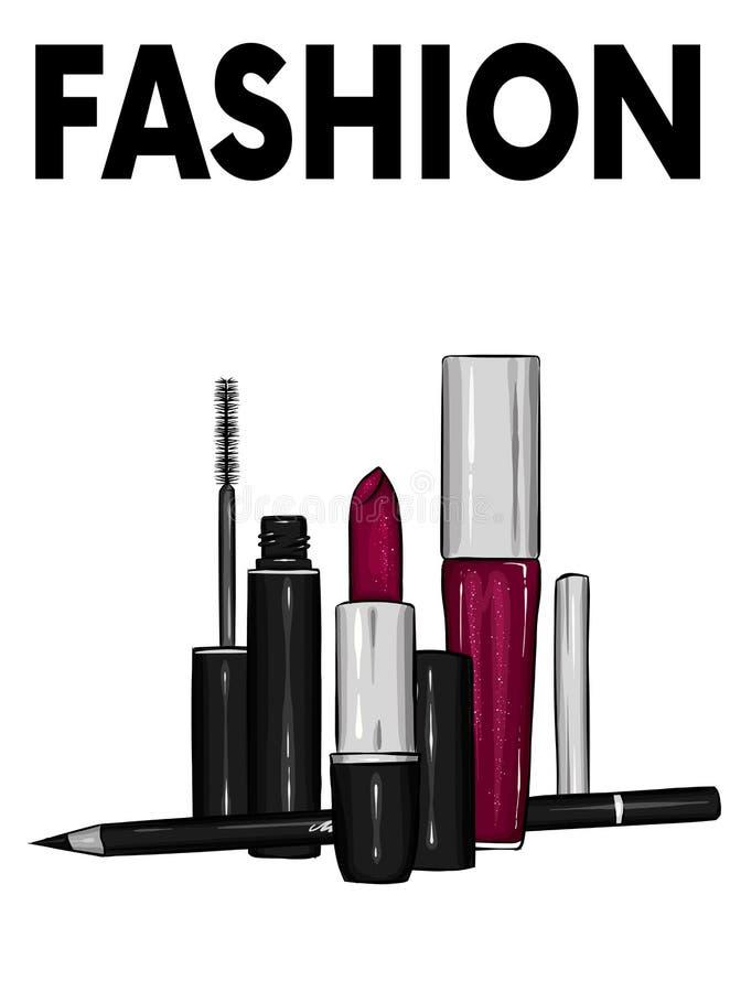 一套女性化妆用品-唇膏,嘴唇光泽,铅笔,染睫毛油 时尚和样式,传染媒介例证 化妆用品有选择性重点的构成 向量例证