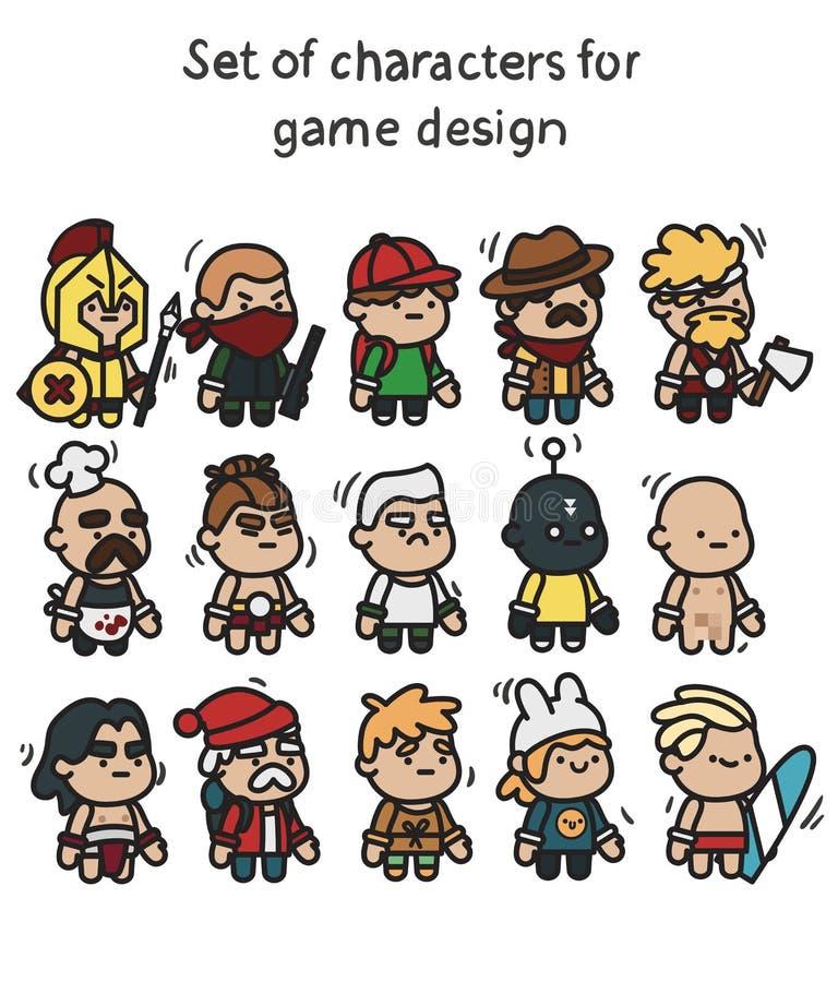 一套字符准备好动画 流动应用和游戏设计的字符 皇族释放例证
