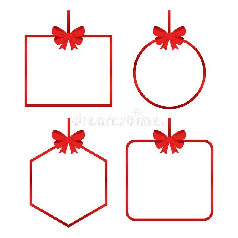 一套带红色礼品弓的漂亮纸牌 向量例证