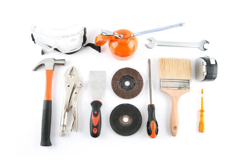 一套很多不同的工具和工作材料 免版税库存照片