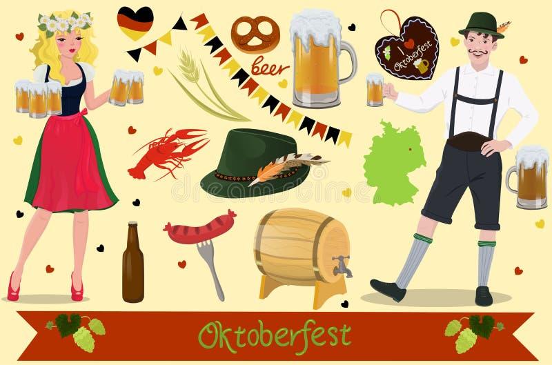 一套德国慕尼黑啤酒节节日的设计元素 o 向量例证