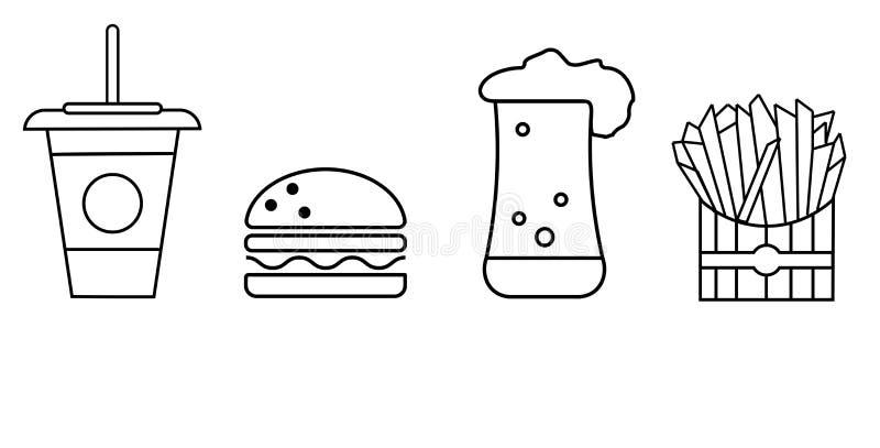 一套快餐的象-与饮料,汉堡包,啤酒,炸薯条的一块玻璃图片
