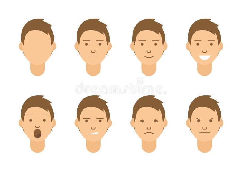 一套情感 男性面孔的8种类型 不同的心情导航图象 向量例证