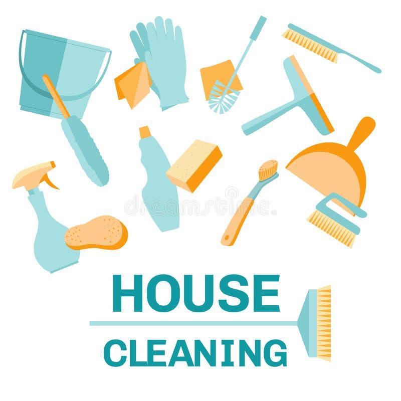 一套房子清洁工具 免版税图库摄影