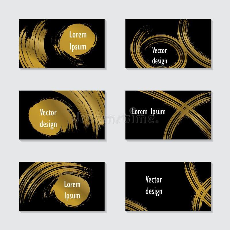 一套手拉的冲程卡集 与金黄elem的模板 向量例证