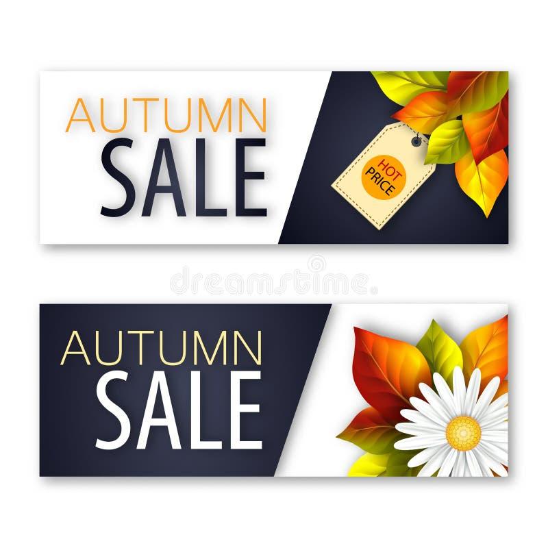 一套挂着真实鲜花和落叶的秋季销售横幅。一套挂着真实鲜花和落叶的秋季销售横幅。矢量图 向量例证