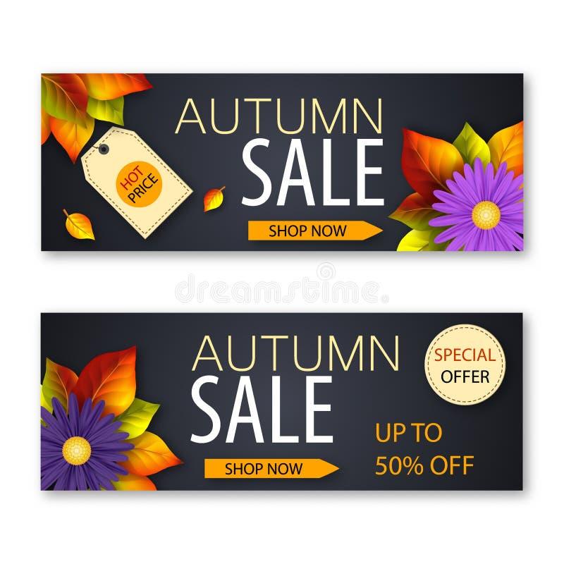 一套挂着真实鲜花和落叶的秋季销售横幅。一套挂着真实鲜花和落叶的秋季销售横幅。矢量图 库存例证