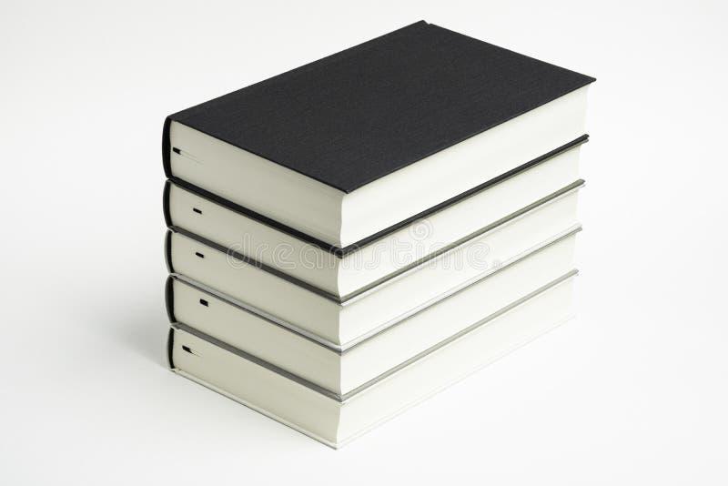 一套整洁地被堆积的单色布料精装书 免版税图库摄影