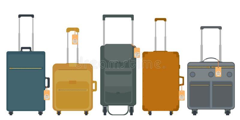 一套旅行包 手提箱和袋子在轮子 向量例证