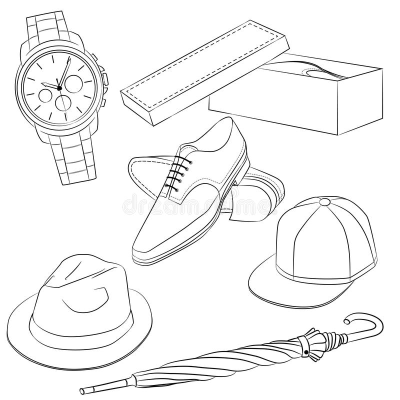 一套时装配件 人的鞋子和辅助部件 皇族释放例证