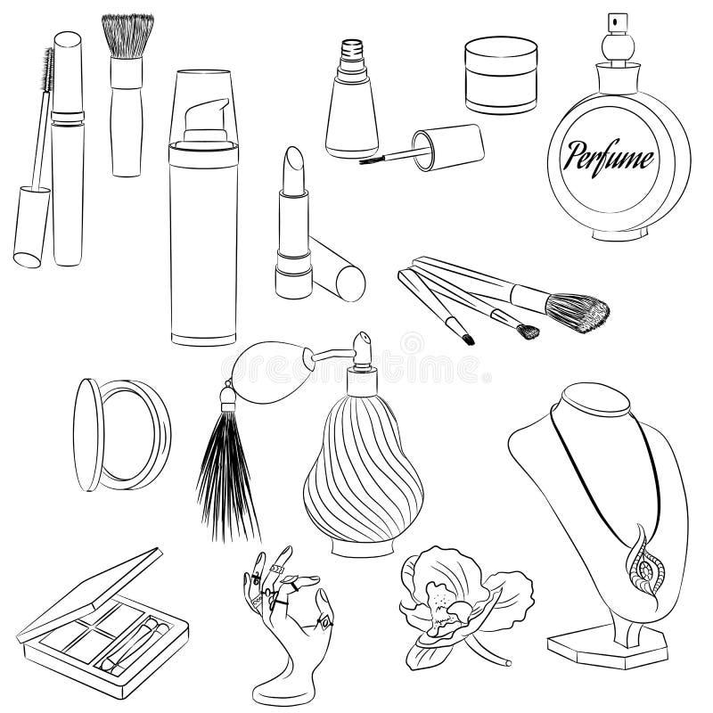 一套时装配件 化妆用品,香水,在a的首饰 向量例证