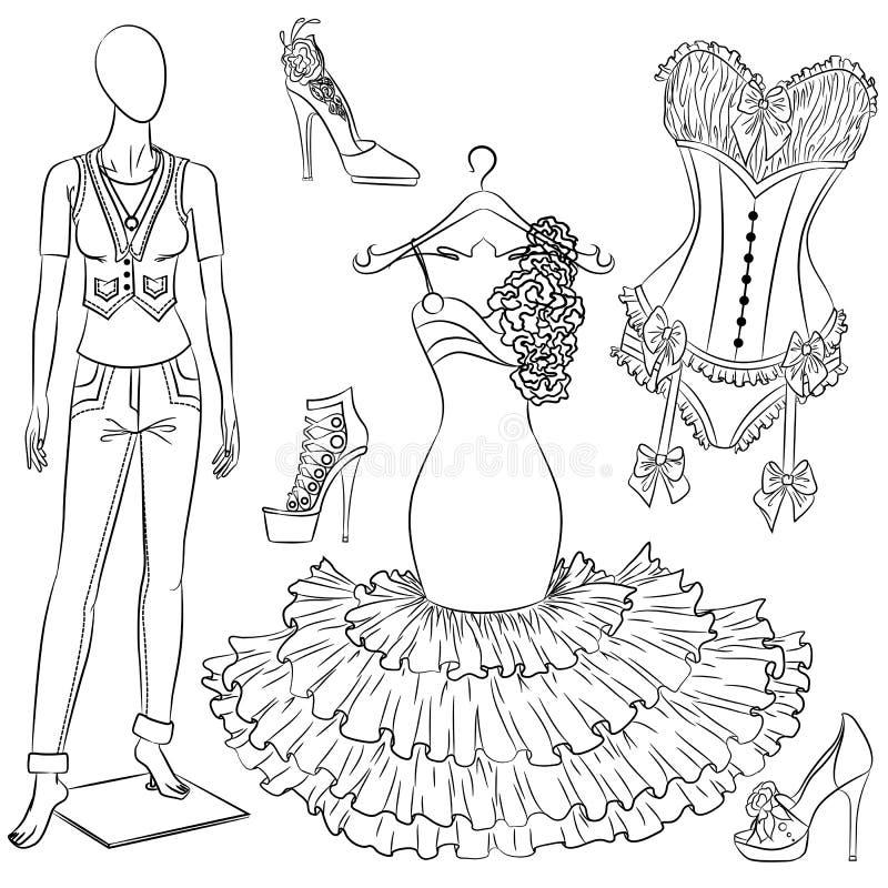 一套时装配件 妇女的衣物和鞋子 库存例证