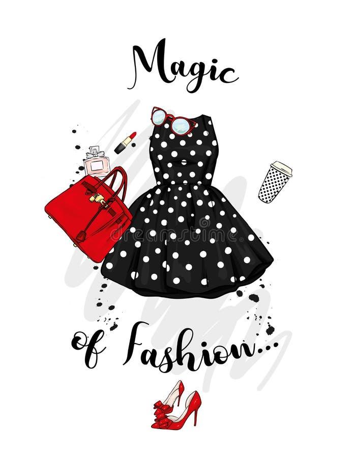 一套时髦的女人` s衣物和辅助部件 礼服、袋子、鞋子有脚跟的,唇膏、香水和玻璃 向量例证