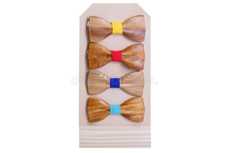 一套时髦的木人的领带为假日 库存图片