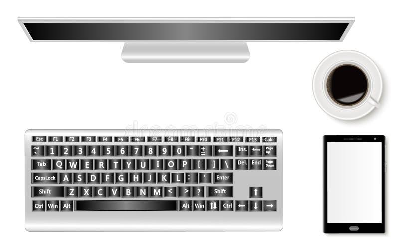 一套有显示器、智能手机、键盘和一杯咖啡的办公桌 现实阴影 向量例证