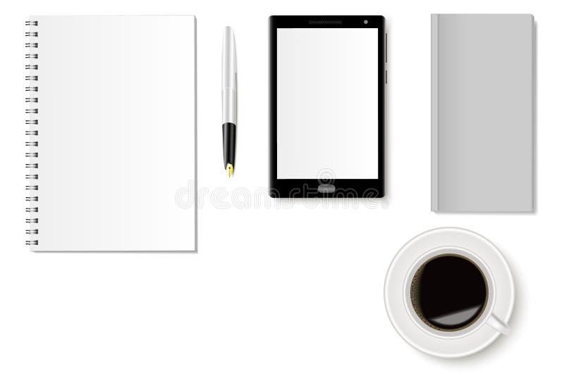 一套有笔记本、智能手机、电话簿、喷泉e,键盘和一杯咖啡的办公桌 现实阴影 向量例证