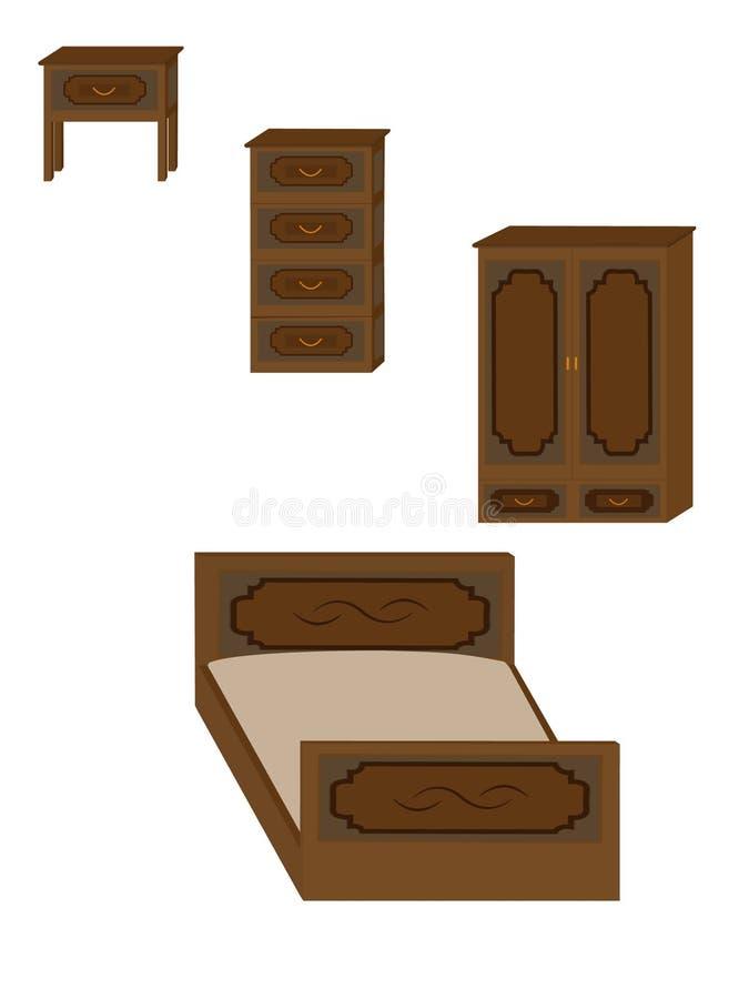 一套木家具-衣橱、床、五斗橱和床头柜 皇族释放例证